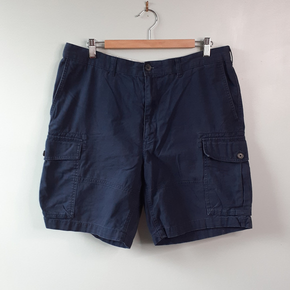 Lands' End Traditional Fit Cargo Shorts Navy Sz 36